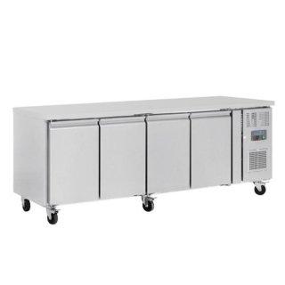Polar Arbeitstisch mit Kühlschrank, Edelstahl, 4-türig