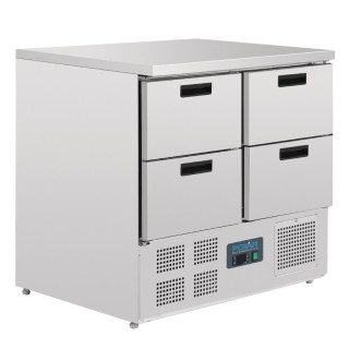 Polar Arbeitstisch mit Kühlschrank, Edelstahl, 4 Schubladen