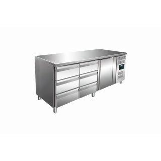 Kühltisch inkl. 2 x 3er Schubladenset Modell KYLJA 3150 TN, Maße: B 1795 x T 700 x H 890-950