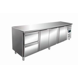 Kühltisch inkl. 2er Schubladenset Modell KYLJA 4110 TN, Maße: B 2230 x T 700 x H 890-950