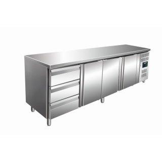 Kühltisch inkl. 3er Schubladenset Modell KYLJA 4130 TN, Maße: B 2230 x T 700 x H 890-950
