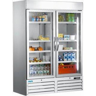 Kühlschrank mit Glastür, 2-türig - weiß Modell G 920, Maße: B 1370 x T 720 x H 1990