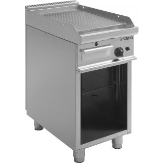 Gas-Griddleplatte mit offenem Unterbau Modell E7/KTG1BAR, Maße: B 400, Bratplatte: 395 x T 700, Bratplatte: 530 x H 850