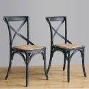 Bolero Esszimmerstühle Birkenholz gewaschenes Schwarz