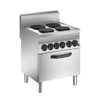 Kocher 70cm, mit 4 gusseisernen Kochfeldern, 2x1,5kW + 2x2,6kW, elektrischer GN1/1 Ofen